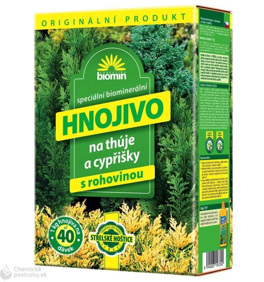 FORESTINA ORGAMIN/BIOMIN HNOJIVO NA TUJE A CYPRUŠTEKY S ROHOVINOU 1 kg