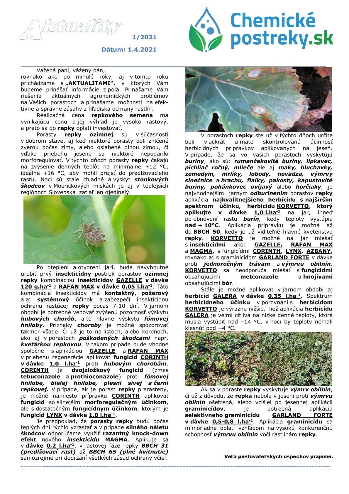 Aktuality v chemickej ochrane plodín 1