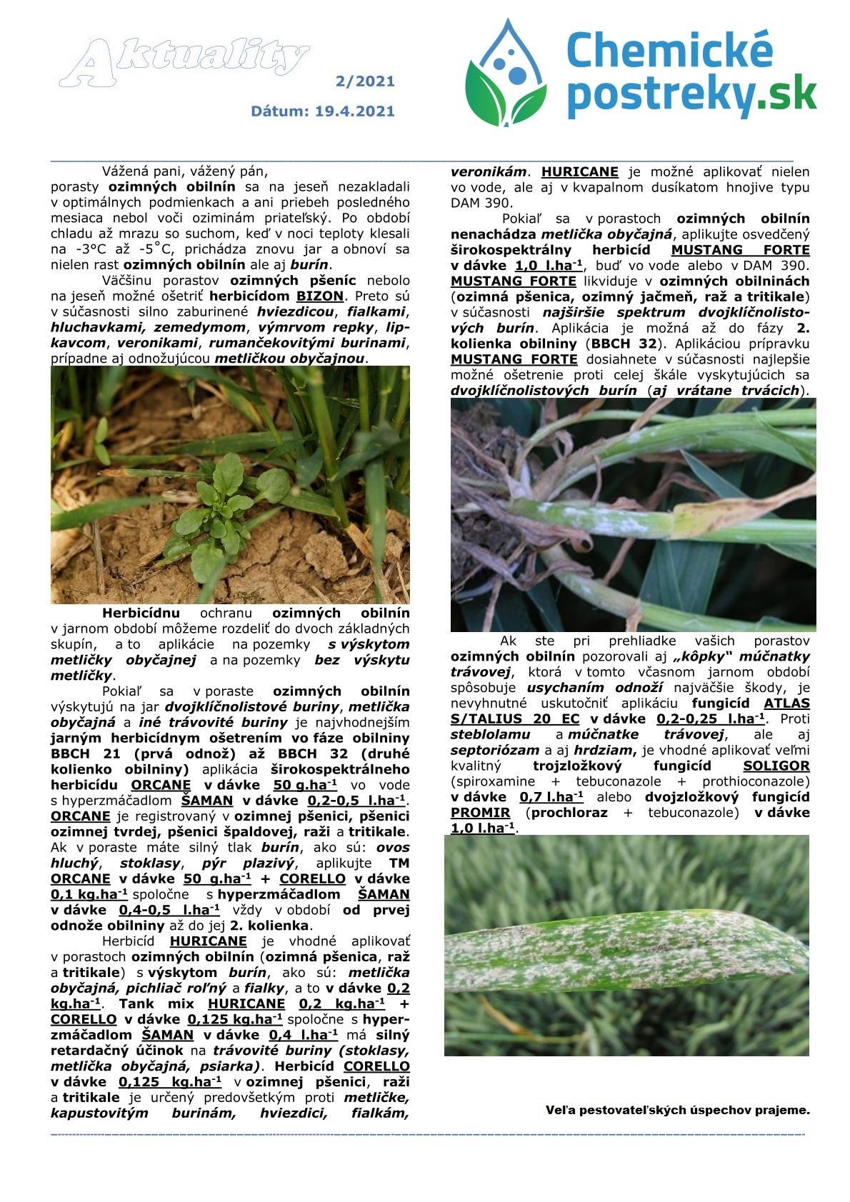 Aktuality v chemickej ochrane plodín 2